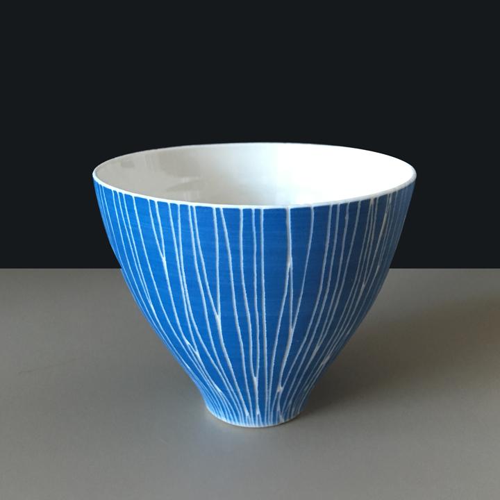 Sgraffitto Becher blau