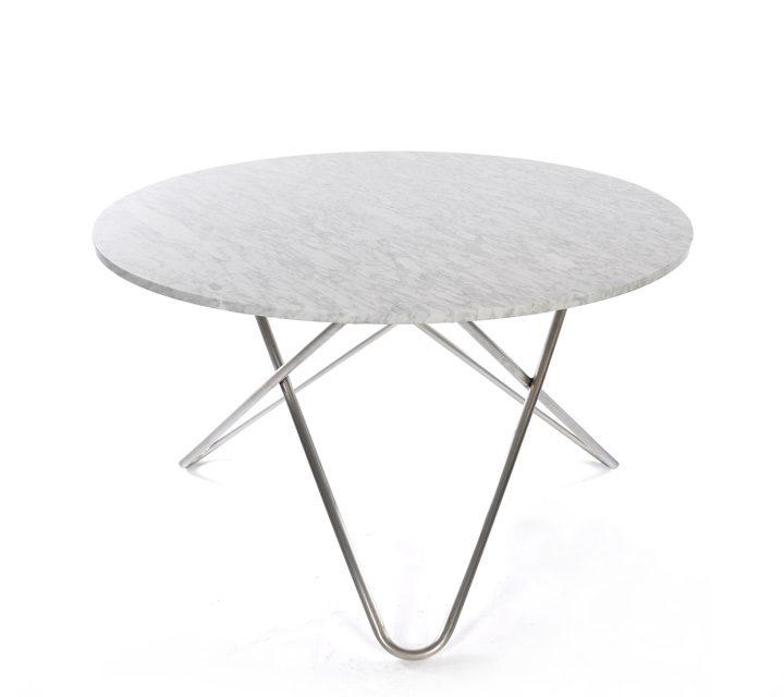 Big O Table, Marmor weiß, Gestell Edelstahl