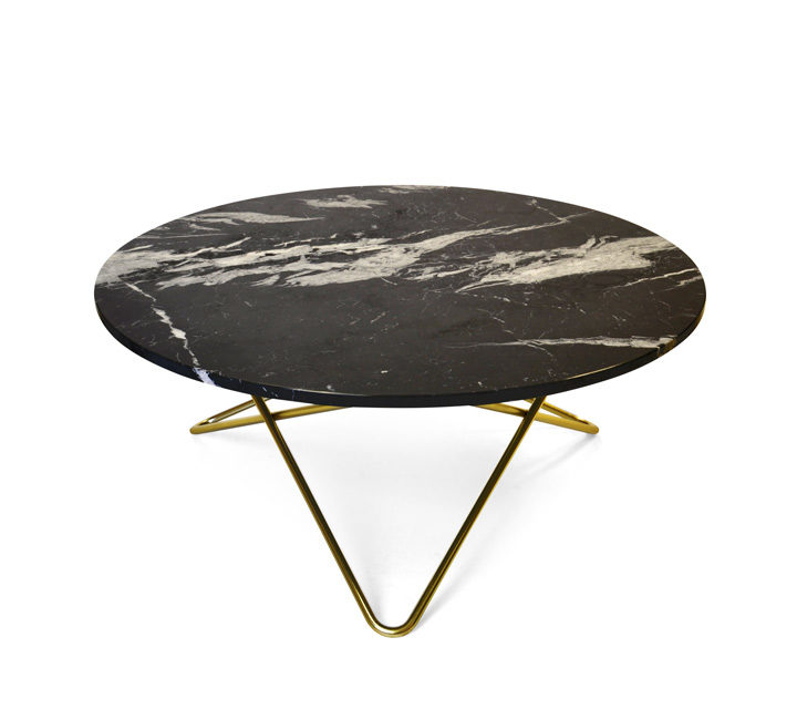 O Table large, black / brass