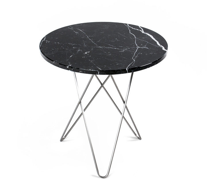 Tall Mini O Table black Marquina