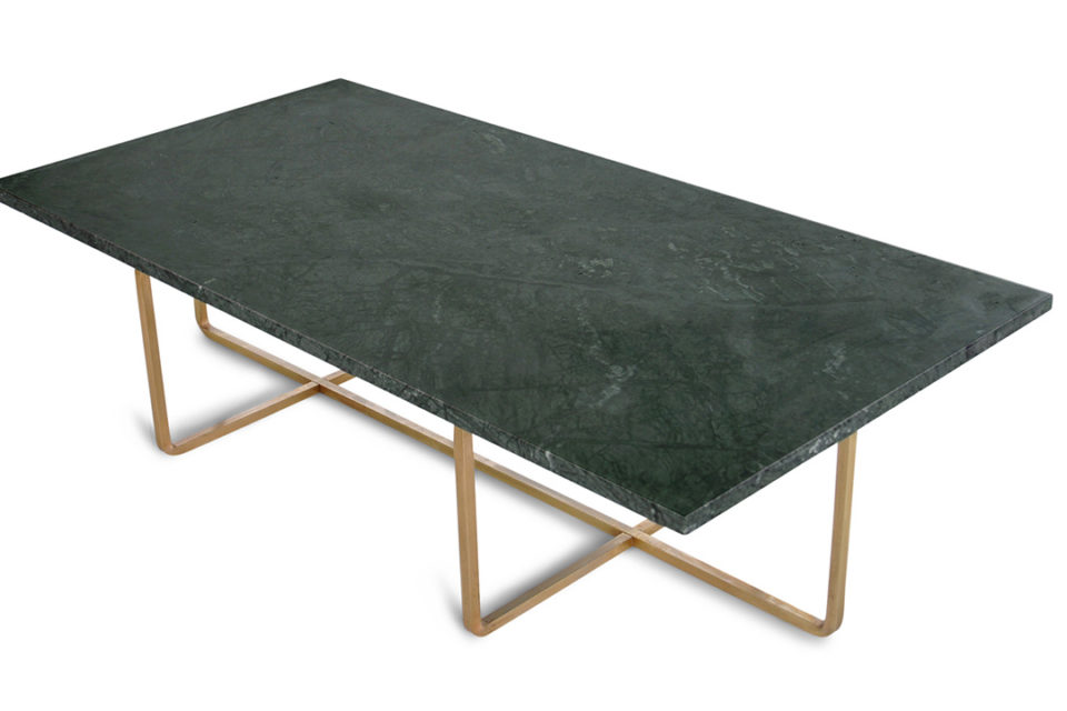 Ninety Table large green India, brass Frame