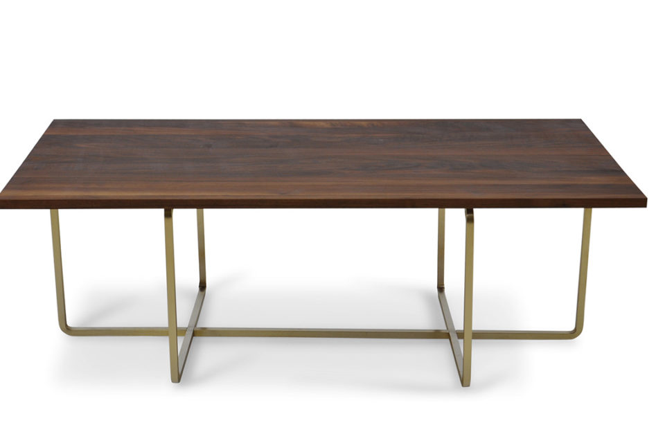 Ninety Table large, Walnut, brass Frame