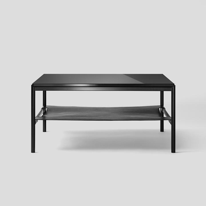 Mies Lounge Tisch, Glas schwarz