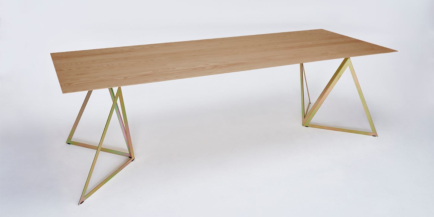 Steel Stand Table oak-yellow galvanized