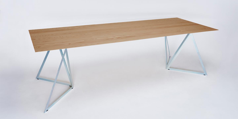Steel Stand Table oak-silver