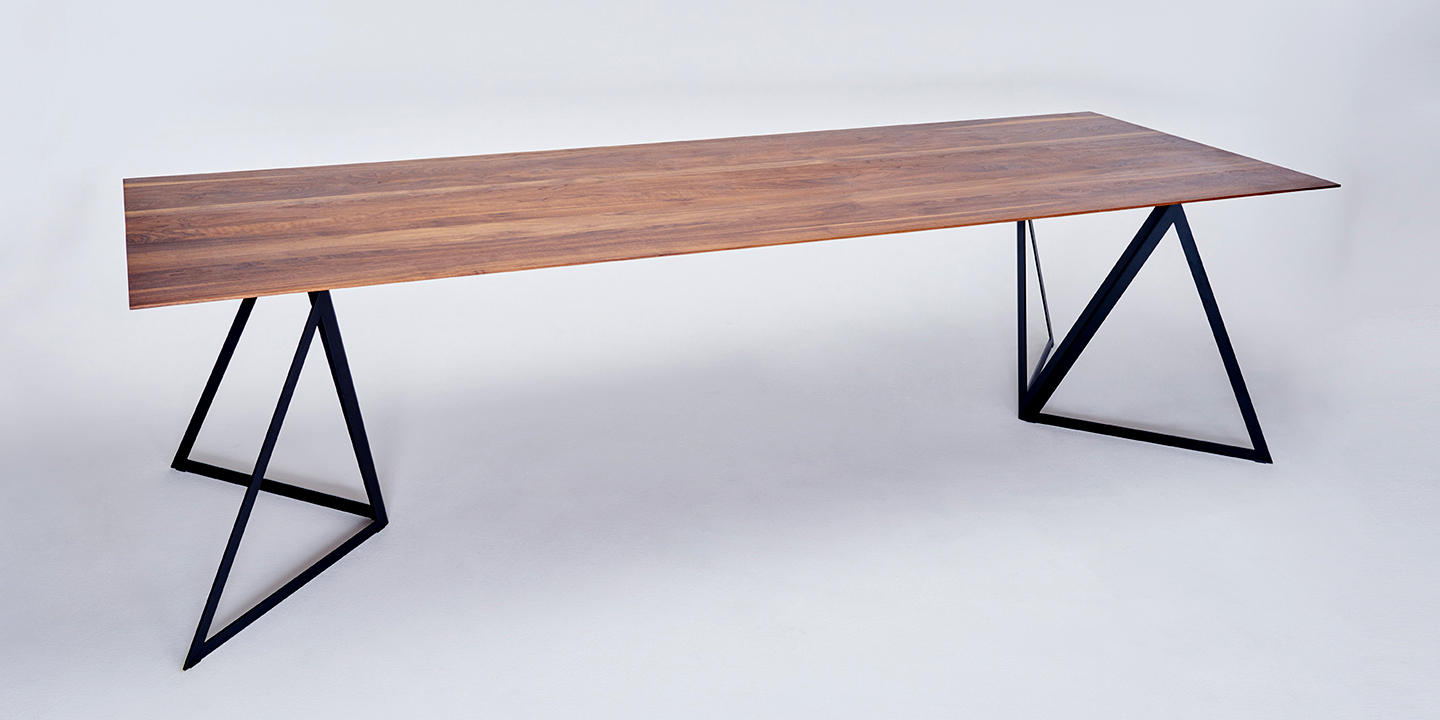 Steel Stand Table walnut-jetblack