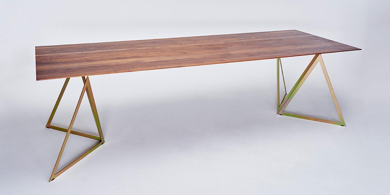 Steel Stand Table walnut-yellow galvanized